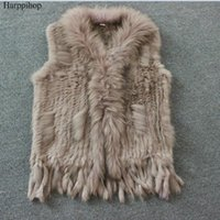 Wholesale women s real fur vests - Harppihop Free shipping womens natural real rabbit fur vest with raccoon fur collar waistcoat jackets rex rabbit knitted winte