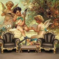 Wholesale wall paper leather - Wholesale- Can be customized large mural 3d wallpaper dining wall paper bedroom TV sofa ceiling fresco European Greek mythology baby angell