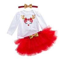bebek christmas dantel romper toptan satış-Noel Bebek kıyafetler kızlar Noel geyik elk baskı romper + Tutu dantel etekler + Pullu kafa bandı 3 adet / takım Santa çocuk Giyim Setleri 2 renkler C5310