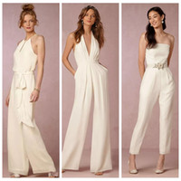 Wholesale wedding dress jumpsuit - New 2018 Ivory Jumpsuit Bridesmaid Dresses for Wedding Sheath Backless Wedding Guest Gowns Plus Size Pant Suit Beach Honor Of Maid Cheap