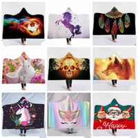 Unicorn Blankets 3D Hooded Blanket Cloak Magic Throw Blanket Fleece Skull Print Bath Towel Robes Christmas Flamingo Beach Shawl Swaddle