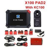 audi obd2 para llaves al por mayor-Original XTOOL X100 Pad2 Pro Auto Key Programmer con KC100 para VW 4th 5th Pro PAD 2 EPB EPS OBD2 Odómetro Multidiag-Languages