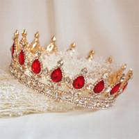 ingrosso blu corona tiaras-Princess Tiara Pageant Full Round Crown Wedding Accessori per capelli da sposa Gioielli di cristallo strass copricapo copricapo Rosso blu verde Diademi