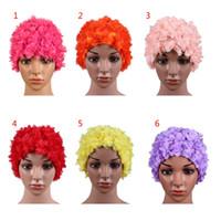 saç taç yaprakları toptan satış-2018 Sıcak Kadınlar için Yüzme Naylon Kap Uzun Saç Üç Boyutlu Çiçek Yaprakları lLadies Yüzme Kap