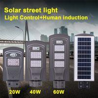 áreas de iluminação venda por atacado-Infravermelho que deteta luzes de rua solares 20W 40W 60W ao ar livre com a iluminação remota da área da montagem da parede Crepúsculo às luzes da noite de PIR Dawn
