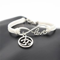 Wholesale aum ohm - AFSHOR Fashion Women OL Style Handmade Beautiful Girls Xmas Gift 2018 Love Infinity OM AUM 3D OHM Symbol Yoga Charms Leather Bracelet Bangle