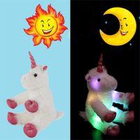 parlayan oyuncak çizgi film toptan satış-LED Gece Parlayan Unicorn Dolması Hayvan Oyuncaklar Noel Doğum Günü sevgililer Günü Hediyeleri 30 cm / 40 cm unicorn karikatür oyuncak MMA762
