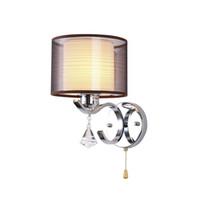 plaques d'interrupteur de lumière modernes achat en gros de-Lampes murales Lampes en métal en cristal chromé moderne avec abat-jour en tissu