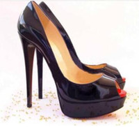 Wholesale Sexy Plus Size Christmas Woman - Plus Size 34-42 Red Bottom Leather diamond High Heels Peep-Toe Women Shoes Sexy Studded Red Sole Heel Woman wedding Pumps