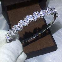 bracelets de diamants en argent achat en gros de-Bureau Lady Baguette Manchette Bracelet De Mariée Diamant S925 Argent Rempli Bracelet de fiançailles pour les femmes bijoux de mariage