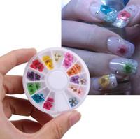 ingrosso autoadesivo delle ruote 3d-36pcs 12 colori fiori secchi per decorazioni nail art fiori secchi naturali per unghie adesivi per ruote decalcomanie punte per manicure 3D fai da te decalcomania