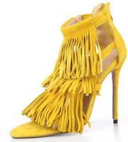 vestido amarelo casual para meninas venda por atacado-Verão sexy Borla mulheres sandálias finos sapatos de salto alto senhora casual zip dress party shoes para as mulheres e menina cinza amarelo bombas