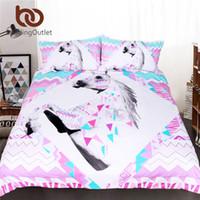 Wholesale Pink Striped Bedding - BeddingOutlet 3d Unicorn Bedding Set King Size Pink Horse Quilt Cover Animal Geometric Striped Bed Set Kids Girl Bedclothes
