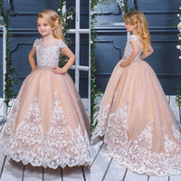 Wholesale pretty puffy dresses for kids resale online - Pretty Ball Gown Flower Girls Dresses For Weddings Lace Appliqued Puffy Skirts Communion Dress Short Sleeve Little Kids Birthday Gowns