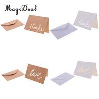 Wholesale white greeting cards envelopes - 12 set Kraft Paper Cards Blank Wedding Thank You Card Greeting Cards with Envelope Brown White
