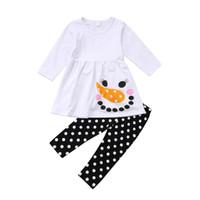 ingrosso vestito nero dalla ragazza con puntini bianchi-2018 CALDO Neonate Natale Outfit Cartoon Snowman White Dress Top Dot Nero Pantaloni Leggings Abiti invernali Set 1-7Y w