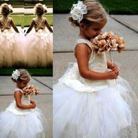linda menina vestidos de noiva venda por atacado-2018 Linda Flor Menina Vestidos Para O Casamento Sem Mangas de Tule Festa de Aniversário de Renda vestido de Baile Vestido Das Meninas Dos Miúdos Vestidos