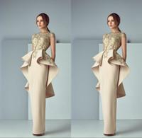 neues kleiderkleid zurück großhandel-Arabic New Dresses Abendgarderobe mit Rüschen Sheer Bateau Neck Back Peplum Abendkleider Sweep Train Formal Prom Dress