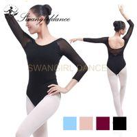 Wholesale latest women costume online - Latest black girls adult sleeve mesh sexy gymnastics dance leotards women ballet costumes with V back