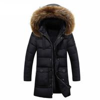 kürk yakalı uzun ceket erkek toptan satış-Kış Puf Ceket Erkekler Ceket Kalın Sıcak Rahat Kürk Yaka Uzun Kalın Ceket Parkas Erkekler Windproof Kapşonlu Kabanlar erkek Parkas