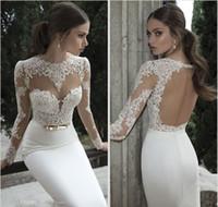 Wholesale strapped silk wedding dress resale online - Vestido De Noiva Berta Mermaid Wedding Dresses Cheap Spring Summer High Neck Long Sleeve Sheer Lace Backless Bridal Gowns Under