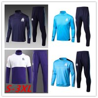Wholesale new Olympic Marseille Tracksuit Soccer Jogging Football Tops Coat Pants Sports Training Suit Men Adults OM Football Track Suit
