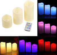 "Wholesale Color Changing Candles Remote - 3pc LED Flameless Candles 4"" 5"" 6"" Pillar Color Changing Remote Glow Wedding Home Bar table Décor LED Candle KKA3634"