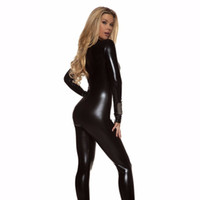 Wholesale gold catsuit front - Shiny Black Catsuit Bodysuit Zip Up Front Womens Metallic Unitard Long Sleeve Gold Catsuits Spandex Suits Wet Look free shipping