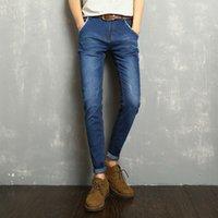Wholesale Exclusive Jeans - Exclusive Men Deep Blue Jeans Slim Elastic Factory Jeans Men Straight Quality Mens Designer Pants TROUSERS