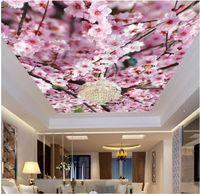 çiçekler duvar kağıdı toptan satış-Özel fotoğraf 3d tavan duvar resimleri duvar kağıdı Şeftali çiçeği duvarlar için 3d duvar kağıdı duvar kağıdı 3d