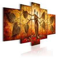 Wholesale abstract couple paint resale online - No Frame Wall Art Picture HD Print Canvas Painting Spray Painting Multi picture Combination Home Decor Couple and Leaf