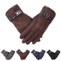 Wholesale leather cashmere touch screen gloves - 1 Pair New Autumn Winter Gloves Men Thicken Warm Cashmere Thermal Mittens Male Touching Screen Gloves for Smart Phone