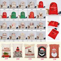 xmas cüppesi hediye çantası toptan satış-29 stilleri Noel İpli karikatür Kanvas çanta Büyük Noel Baba Reindeers Monogramable Noel çocuklar Hediyeler Çuval Çanta Xmas çanta FFA590