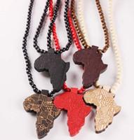 afrika hip hop halsketten großhandel-Holz Afrika Karte Anhänger Halskette Hip Hop Mode Perlen Lange Kette Männer Holz Anhänger Halsketten Schmuck Geschenk