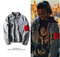 armbandjacke großhandel-Hip Hop 424 Armband Denim Jacken Männer Frauen High Street Bomber Löcher Jacken Liebhaber Streetwear Denim Outwear Tops Kleidung