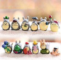 ingrosso set da giardino per bambini-Il mio vicino Totoro Toy Hayao Miyazaki Action Figures Mini Garden PVC Bambini Ornamenti Giocattoli Per Ragazzi Ragazze 1-3 cm 12 pz / set