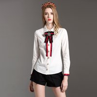 Wholesale white high collar blouse - HIGH QUALITY Women Fashion Casual Slim Shirts Long Sleeve Turn-down Collar White Elegant Blouse with Bow Soild Color Tops