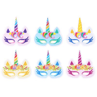 Wholesale children birthday party themes - 12PCS Pack Mixed Color Unicorn Face Mask Party Masks Unicorn Theme Face Masks Unicorn Birthday Party Supplies