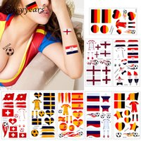 Wholesale hot countries flags resale online - glaryyears Pieces World Cup Body Temporary Tattoo Sticker Football Game Sports Russia Countries Flags Tattoo Hot MOT