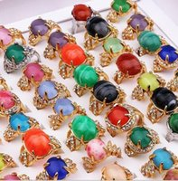 Wholesale order turquoise stones resale online - 2018 new Fashion Jewelry Mixed style Mixed order Exaggeration Opal Turquoise gemstone crystal Ring for Women