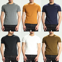 Wholesale Japanese Style T Shirt Men - 100 (%) Cotton Tops Quality Japanese Style Original Solid Color Mens Short-sleeved Designer T-shirt Summer Personality Trendy for Men