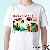 ingrosso top di organza bianca-Bolivia Football Flag - Maglietta bianca T-shirt da calcio - Maglietta da uomo cool casual da uomo Organza T-shirt unisex di moda