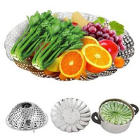 Wholesale steaming rack - Multifunction Collapsible Stainless Steel Steamers Rack Retractable Fruit Vegetable Steaming Plate Kitchen Cooker Rack CCA9781 200pcs