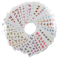nagel wasser abziehbilder niedlich großhandel-Nettes unterschiedliches Blumen-Muster 60 Blatt / Satz-Nagel-Kunst-Aufkleber-Abziehbild DIY 3D Nagel-Druck-Aufkleber-Wasser-Abziehbild-Korea-Frauen-Applique