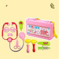Wholesale doctor play set toys - Children Artificial Pretend Play And Dress Up Doctor Toy 9 Pieces Set Simulation Receive Diagnosis Box Stethoscope Medical Toys 12 9bq W