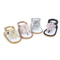 polka dot flowers wholesale UK - 2018 Newborn baby sandals leather polka dot flower baby moccasins shoes soft sole non-slip hot moccs sandals for baby girls 0~18month.CX095