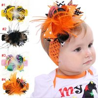 Wholesale lace polka dot baby hair for sale - Group buy INS girl kids Halloween children Bow Orange Polka Dots Feather Headband baby Halloween hair accessories