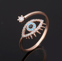 Wholesale bague color - Elegant Blue Evil Eye Cubic Zirconia Ring Women Girls Hamsa Jewelry Rose Gold Color Opening Bague
