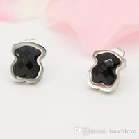 Wholesale Black Onyx Silver Jewelry - TL silver plated gold plated stainless steel wholesale bear earrings for women hot selling brand jewelry