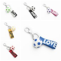Discount football collection - World Cup football 3d Keyring Charm Pendant Football Handbag Keychains collection kids toy gift FFA355 6colors